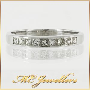 18K White Gold Channel Set Wedding Ring