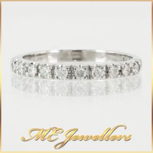 Platinum Petite Line Diamond Wedding Band