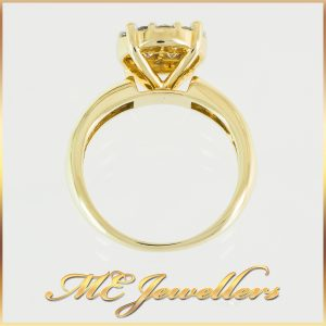 14K Yellow Gold Cluster Diamond Ring