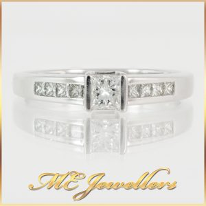 MHJ 0.33CT TDW Engagement Ring in 18K White Gold