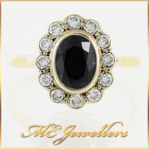 Oval Blue Sapphire Diamond Dress Ring