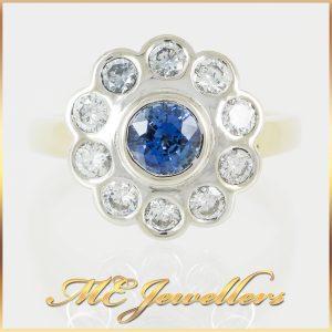 Blue Oval Ceylon Sapphire Diamond Ring