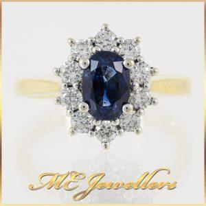 Michael Hill Blue Oval Sapphire Diamond Ring