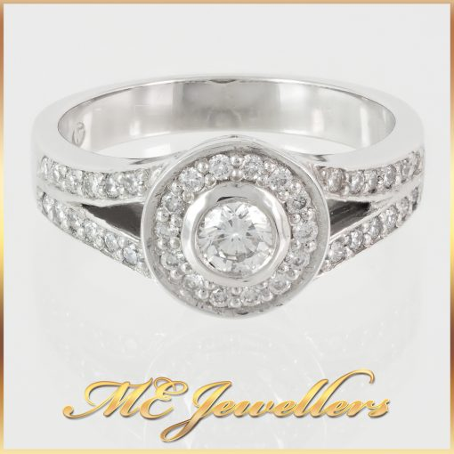 0.39TDW Split Shank Halo Diamond Engagement Ring