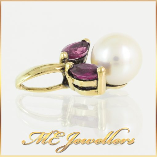 6mm Pearl Pendant Containing Pink Sapphire