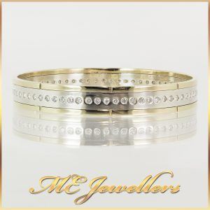 9ct Yellow and White Gold Two Tone Diamond Bangle