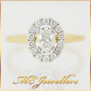 Yellow Gold Halo Diamond Ring