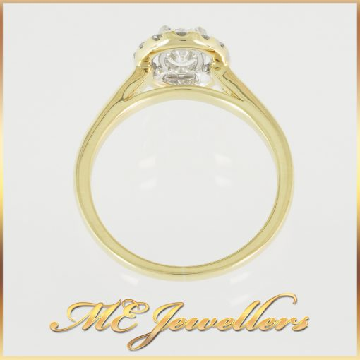 0.78TDW Modern Halo Style Diamond Ring in Yellow Gold - ME Jewellers
