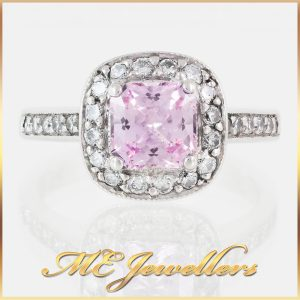 1 ct Pink Sapphire Square Cut Brilliant Diamonds 18k White Gold