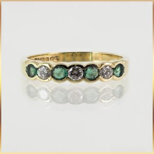 18k Semi-Bezel Emerald & Diamond Dress Ring