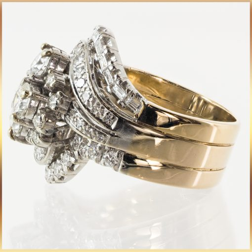 14k Fused Stack Diamond Cluster Ring