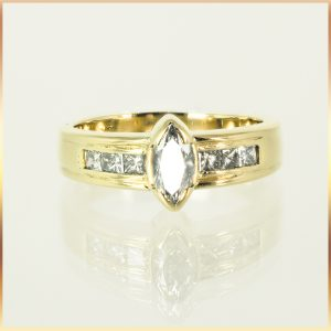 18k Marquise Cut Engagement Ring
