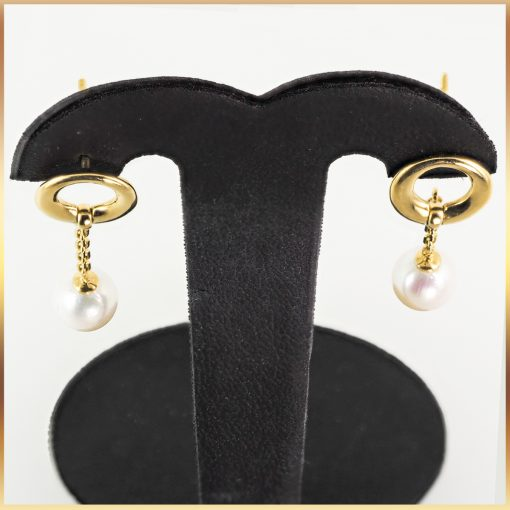 18k Yellow Gold Pearl Swing Earrings