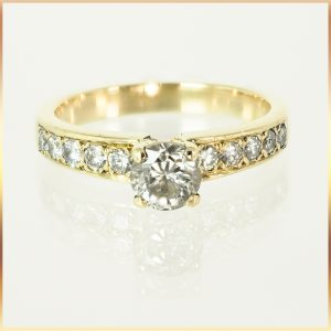 16K Pave Set Engagement Ring