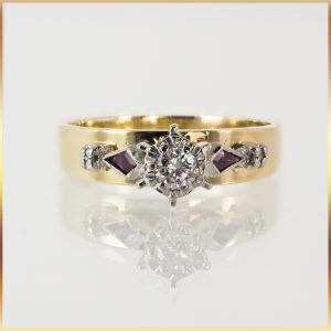 18k Diamond & Spinel Ring