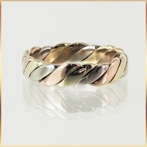 9k Tri Tone Gold Ladies Ring