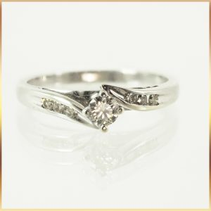 9K Solitaire Diamond Accent Bypass Ring