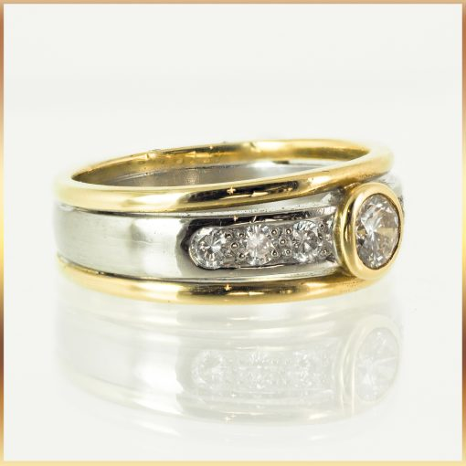 18k Two Tone Solitaire Ring with Accents