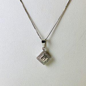 18K White Gold Princess Cut Diamond Pendant