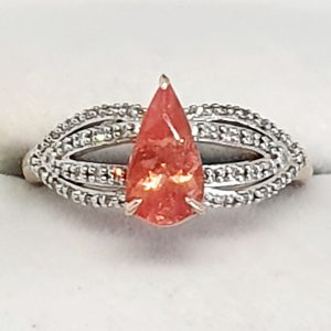 9KT Rose Gold Rhodocrosite and Diamond Ring