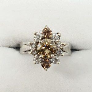 Cognac Cluster Diamond Ring