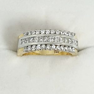 Yellow and white gold cluster diamond ring