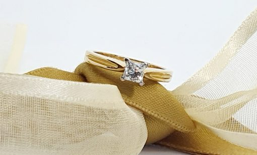 Solitaire Princess Cut Diamond Engagement Ring in 18KT Yellow Gold