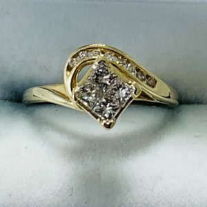 Yellow Gold Princess Diamond Cluster and Channel Set Ring (9kt)