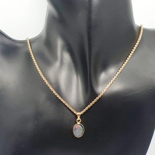 colourful black opal pendant