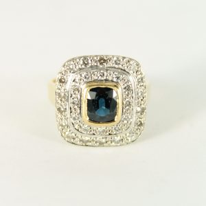 Double Halo Sapphire and Diamond Dress Ring