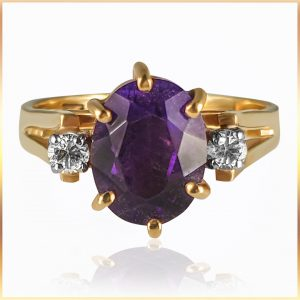 Oval Amethyst Engagement Ring