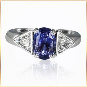 Blue Sapphire Trilliant Ring