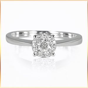 Clustered Solitaire Diamond Ring
