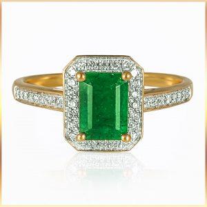 Chrysoprase Halo Engagement ring