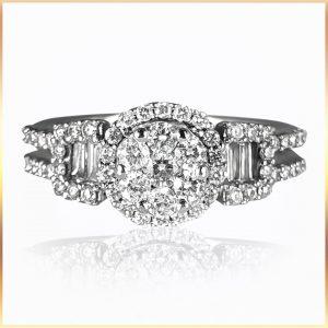 Cluster Halo Diamond Ring