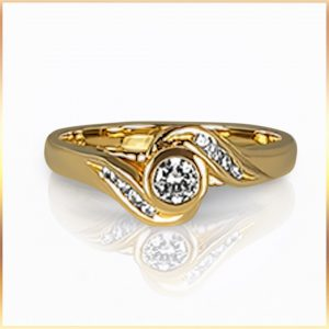 Diamond Bypass Solitaire Ring